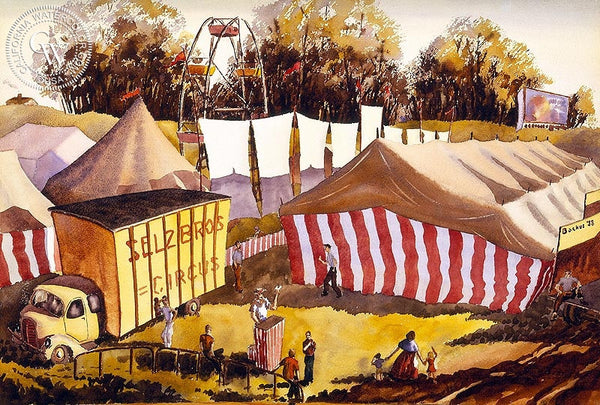 Selz Bros Circus, 1938, California art by Standish Backus Jr.. HD giclee art prints for sale at CaliforniaWatercolor.com - original California paintings, & premium giclee prints for sale