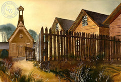 The Fence, California art by Standish Backus Jr.. HD giclee art prints for sale at CaliforniaWatercolor.com - original California paintings, & premium giclee prints for sale