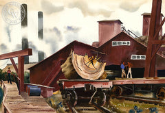 ULC Lumber Mill, c. 1940s, California art by Standish Backus Jr.. HD giclee art prints for sale at CaliforniaWatercolor.com - original California paintings, & premium giclee prints for sale