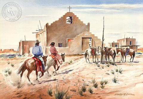 Navajo Riders, California art by Stanley Long. HD giclee art prints for sale at CaliforniaWatercolor.com - original California paintings, & premium giclee prints for sale