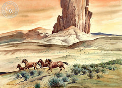 Open Range, c. 1948, California art by Stanley Long. HD giclee art prints for sale at CaliforniaWatercolor.com - original California paintings, & premium giclee prints for sale