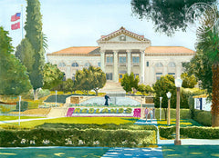 University of Redlands, California watercolor art by Steve Santmyer. HD giclee art prints for sale at CaliforniaWatercolor.com - original California paintings, & premium giclee prints for sale