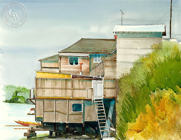 Bay House, California art by Steve Santmyer. HD giclee art prints for sale at CaliforniaWatercolor.com - original California paintings, & premium giclee prints for sale
