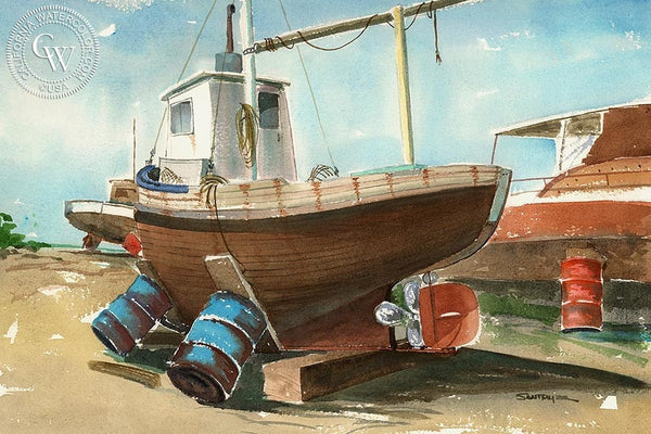 Boat on Oil Drums, California art by Steve Santmyer. HD giclee art prints for sale at CaliforniaWatercolor.com - original California paintings, & premium giclee prints for sale