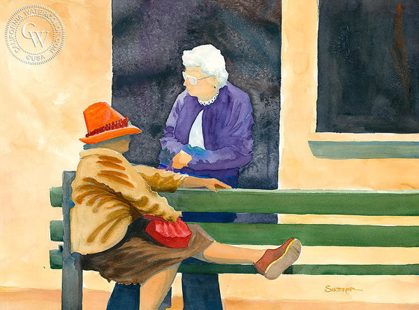 Bus Stop, California art by Steve Santmyer. HD giclee art prints for sale at CaliforniaWatercolor.com - original California paintings, & premium giclee prints for sale