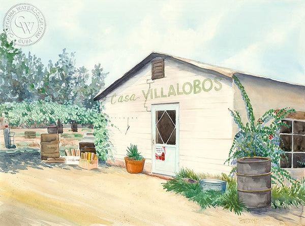 Casa Villalobos, Mexico, California art by Steve Santmyer. HD giclee art prints for sale at CaliforniaWatercolor.com - original California paintings, & premium giclee prints for sale