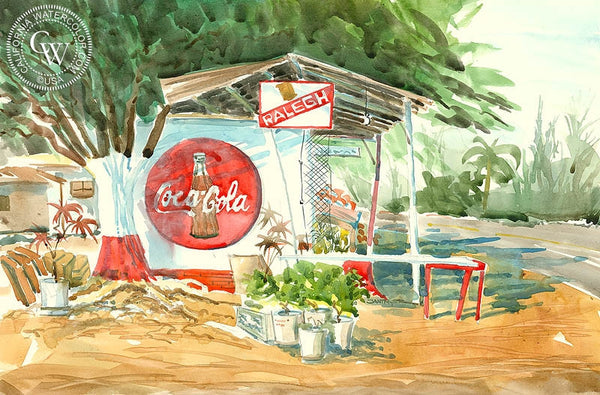 Coca Cola, California art by Steve Santmyer. HD giclee art prints for sale at CaliforniaWatercolor.com - original California paintings, & premium giclee prints for sale