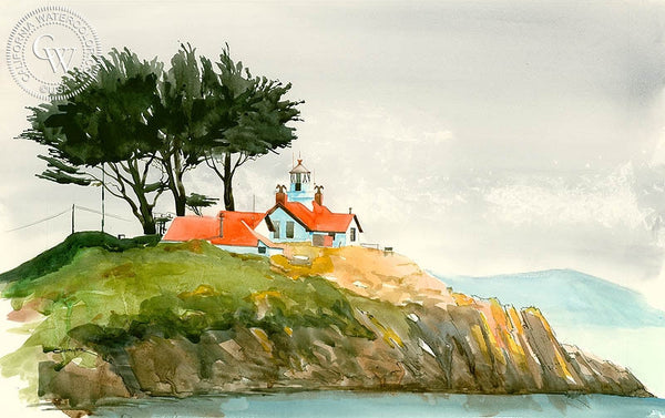 Crescent City Lighthouse, California art by Steve Santmyer. HD giclee art prints for sale at CaliforniaWatercolor.com - original California paintings, & premium giclee prints for sale
