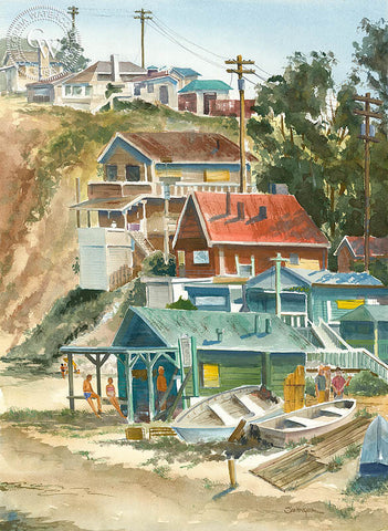 Crystal Cove Around 1960, California art by Steve Santmyer. HD giclee art prints for sale at CaliforniaWatercolor.com - original California paintings, & premium giclee prints for sale