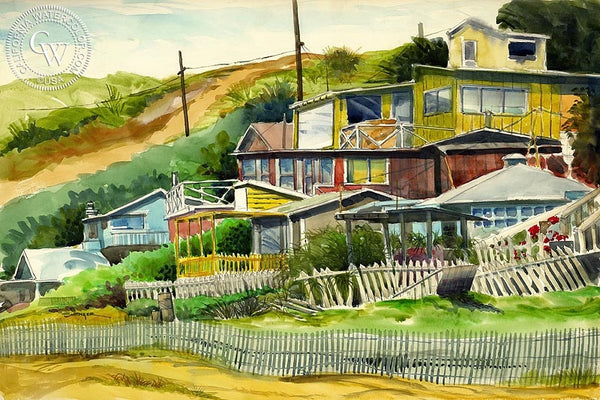 Crystal Cove, California art by Steve Santmyer. HD giclee art prints for sale at CaliforniaWatercolor.com - original California paintings, & premium giclee prints for sale