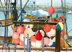 Dana Point Harbor, California art by Steve Santmyer. HD giclee art prints for sale at CaliforniaWatercolor.com - original California paintings, & premium giclee prints for sale