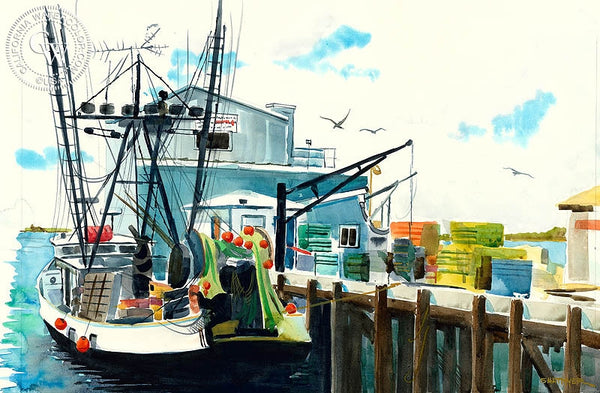 Docked, California art by Steve Santmyer. HD giclee art prints for sale at CaliforniaWatercolor.com - original California paintings, & premium giclee prints for sale