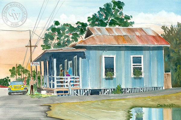 Filipino Pool Hall, Kona, HI, California art by Steve Santmyer. HD giclee art prints for sale at CaliforniaWatercolor.com - original California paintings, & premium giclee prints for sale