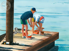 Fishing Buddies, Laguna Beach, California art by Steve Santmyer. HD giclee art prints for sale at CaliforniaWatercolor.com - original California paintings, & premium giclee prints for sale