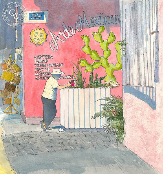Flor Roja, by Steve Santmyer. An original California watercolor on paper featuring an old store front in Mexico.  This painting is available as a fine art giclée printed in high-definition on premium watercolor paper. - Californiawatercolor.com