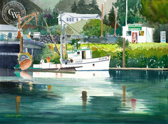 Hallmark Fisheries, Brookings, OR, California art by Steve Santmyer. HD giclee art prints for sale at CaliforniaWatercolor.com - original California paintings, & premium giclee prints for sale