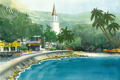 Kailua Village, California watercolor art by Steve Santmyer. HD giclee art prints for sale at CaliforniaWatercolor.com - original California paintings, & premium giclee prints for sale