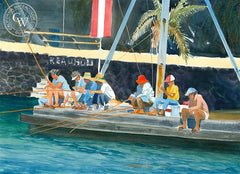Keauhou Bay, Kona, Hawaii, California art by Steve Santmyer. HD giclee art prints for sale at CaliforniaWatercolor.com - original California paintings, & premium giclee prints for sale