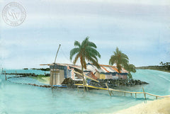 Kona Beach Shack, Laguna, California watercolor art by Steve Santmyer. HD giclee art prints for sale at CaliforniaWatercolor.com - original California paintings, & premium giclee prints for sale