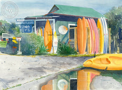 Kona Boys, California art by Steve Santmyer. HD giclee art prints for sale at CaliforniaWatercolor.com - original California paintings, & premium giclee prints for sale