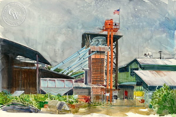 Kona Coffee Mill, California art by Steve Santmyer. HD giclee art prints for sale at CaliforniaWatercolor.com - original California paintings, & premium giclee prints for sale