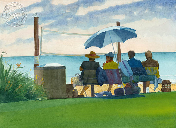 Main Beach Volleyball, Laguna, California watercolor art by Steve Santmyer. HD giclee art prints for sale at CaliforniaWatercolor.com - original California paintings, & premium giclee prints for sale