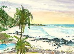 Manzanillo Bay, California art by Steve Santmyer. HD giclee art prints for sale at CaliforniaWatercolor.com - original California paintings, & premium giclee prints for sale