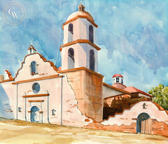 Mission San Luis Rey, California art by Steve Santmyer. HD giclee art prints for sale at CaliforniaWatercolor.com - original California paintings, & premium giclee prints for sale