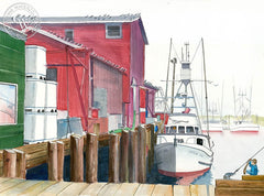 Newport, OR, California art by Steve Santmyer. HD giclee art prints for sale at CaliforniaWatercolor.com - original California paintings, & premium giclee prints for sale