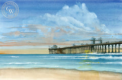 Oceanside Pier, California art by Steve Santmyer. HD giclee art prints for sale at CaliforniaWatercolor.com - original California paintings, & premium giclee prints for sale