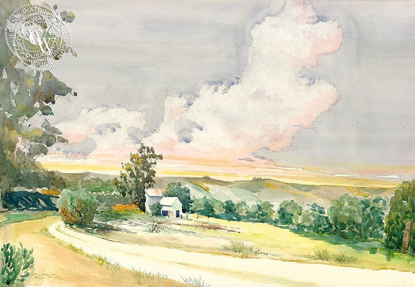 Pauma Valley Barn, California art by Steve Santmyer. HD giclee art prints for sale at CaliforniaWatercolor.com - original California paintings, & premium giclee prints for sale