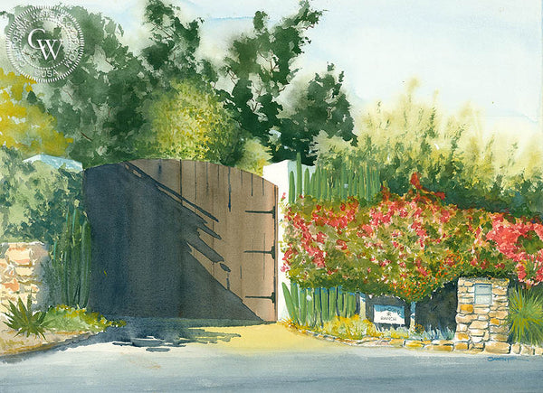 Pauma Valley Gate, California art by Steve Santmyer. HD giclee art prints for sale at CaliforniaWatercolor.com - original California paintings, & premium giclee prints for sale
