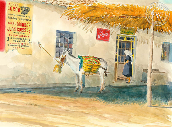 Public Parking, by Steve Santmyer. An original California watercolor on paper featuring an old store front in Mexico.  This painting is available as a fine art giclée printed in high-definition on premium watercolor paper. - Californiawatercolor.com