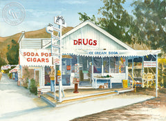Rankens Drug Store, Laguna Beach, California watercolor art by Steve Santmyer. HD giclee art prints for sale at CaliforniaWatercolor.com - original California paintings, & premium giclee prints for sale