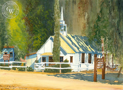 Rincon Chapel, California watercolor art by Steve Santmyer. HD giclee art prints for sale at CaliforniaWatercolor.com - original California paintings, & premium giclee prints for sale