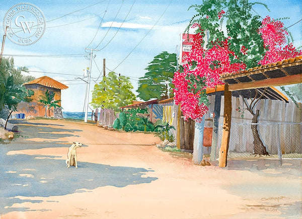 Road South, Mexico, California art by Steve Santmyer. HD giclee art prints for sale at CaliforniaWatercolor.com - original California paintings, & premium giclee prints for sale