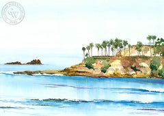 Seal Rock, Laguna Beach, California art by Steve Santmyer. HD giclee art prints for sale at CaliforniaWatercolor.com - original California paintings, & premium giclee prints for sale