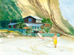 Surfers at Crystal Cove, California art by Steve Santmyer. HD giclee art prints for sale at CaliforniaWatercolor.com - original California paintings, & premium giclee prints for sale