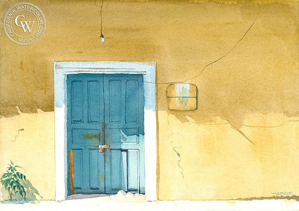 The Door, Zihuatanejo, Mexico, California art by Steve Santmyer. HD giclee art prints for sale at CaliforniaWatercolor.com - original California paintings, & premium giclee prints for sale