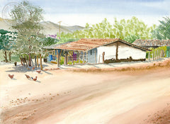 The Road Into Saladita, Gro, Mexico, California art by Steve Santmyer. HD giclee art prints for sale at CaliforniaWatercolor.com - original California paintings, & premium giclee prints for sale