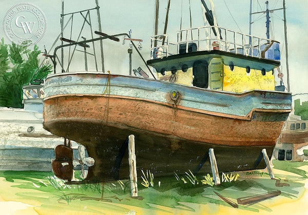 Drydock 1, California art by Steve Santmyer. HD giclee art prints for sale at CaliforniaWatercolor.com - original California paintings, & premium giclee prints for sale