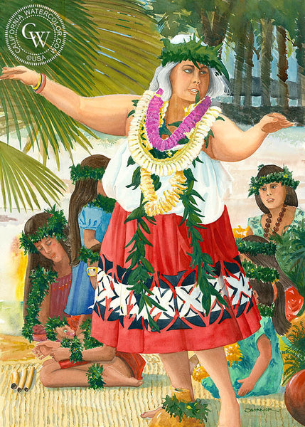 Hawaiian Hula Teacher, California art by Steve Santmyer. HD giclee art prints for sale at CaliforniaWatercolor.com - original California paintings, & premium giclee prints for sale