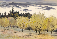Looking Into Pope Valley, c. 1938, California art by Tom Craig. HD giclee art prints for sale at CaliforniaWatercolor.com - original California paintings, & premium giclee prints for sale
