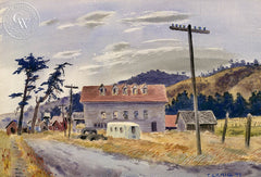 Farm Town, 1941, California art by Tom Craig. HD giclee art prints for sale at CaliforniaWatercolor.com - original California paintings, & premium giclee prints for sale