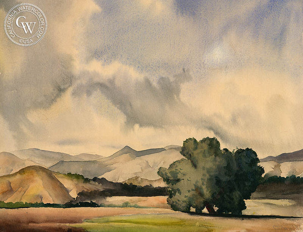 Untitled Landscape, 1933, California watercolor art by Tom Craig. HD giclee art prints for sale at CaliforniaWatercolor.com - original California paintings, & premium giclee prints for sale