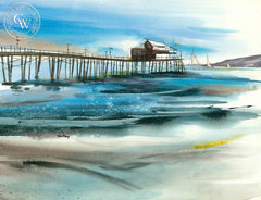 Beachside Pier, California watercolor art by Tom Fong. Original California watercolor painting for sale, fine art giclee print for sale, coastal painting, beach and coastal watercolor painting, California Pier art, CaliforniaWatercolor.com