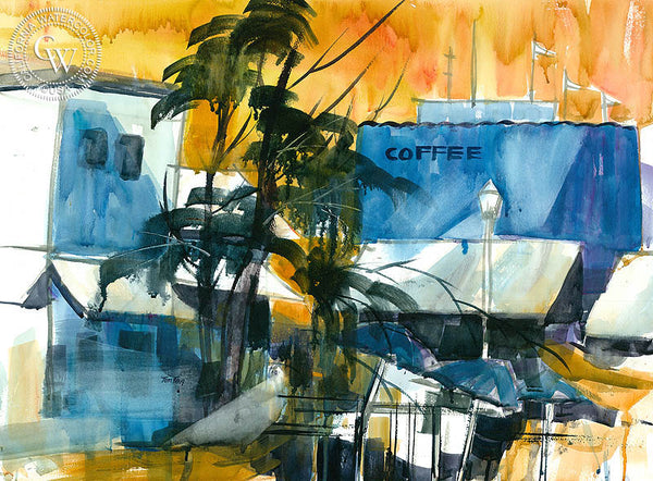 Coffee Shop, California watercolor art by Tom Fong. Original California watercolor painting for sale, fine art giclee print for sale, California cityscape art, CaliforniaWatercolor.com