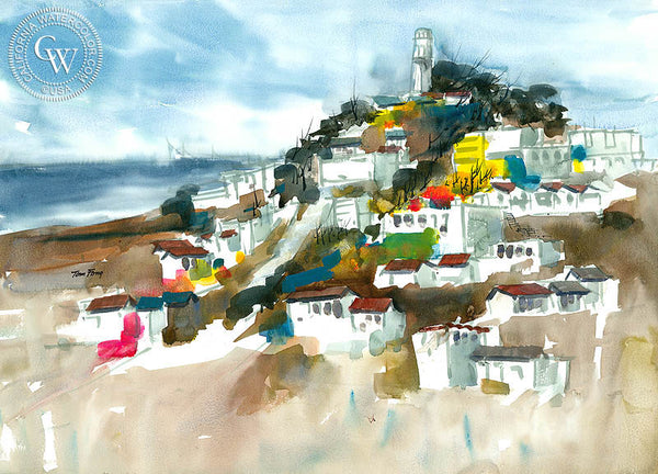 Coit Tower, San Francisco, California watercolor art by Tom Fong. Original California watercolor painting for sale, fine art giclee print for sale, fine art painting, watercolor art, Coit Tower artwork, San Francisco painting, Coit Tower fine art painting, CaliforniaWatercolor.com