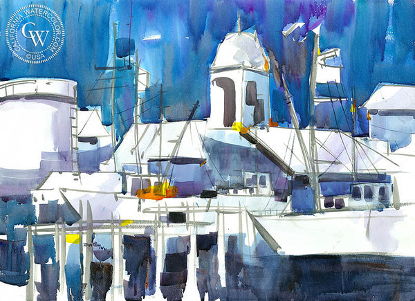 Dockside, California watercolor art by Tom Fong. Original California watercolor painting for sale, fine art giclee print for sale, coastal painting, beach and coastal watercolor painting, California wharf painting, CaliforniaWatercolor.com