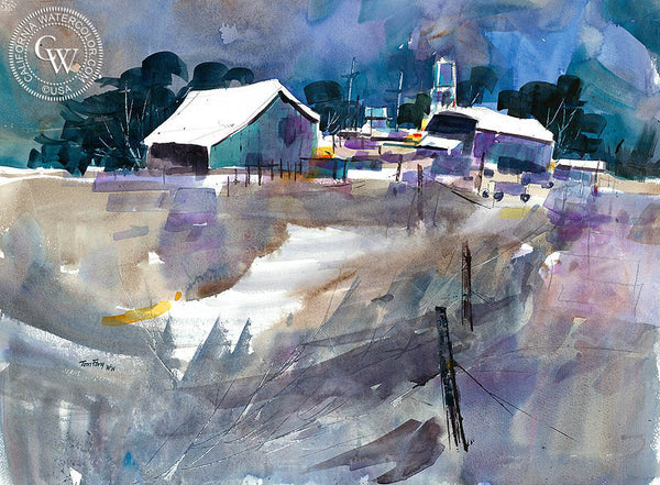 Farm Country, California watercolor art by Tom Fong. Original California watercolor painting for sale, fine art giclee print for sale, fine art painting, watercolor art, farm painting, CaliforniaWatercolor.com